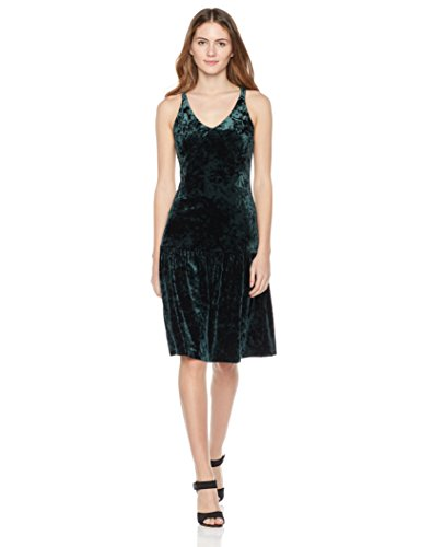 Painted Heart Women's Drop-Waist Mixed Velvet Midi Dress with Cami Straps