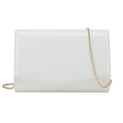 Charming Tailor Patent Leather Flap Clutch Classic Elegant Evening Bag Chic Dress Purse (White)