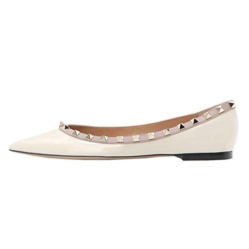 Sintético Zapatillas VOCOSI de White Mujer de Ballet patent wfwIzqaOn