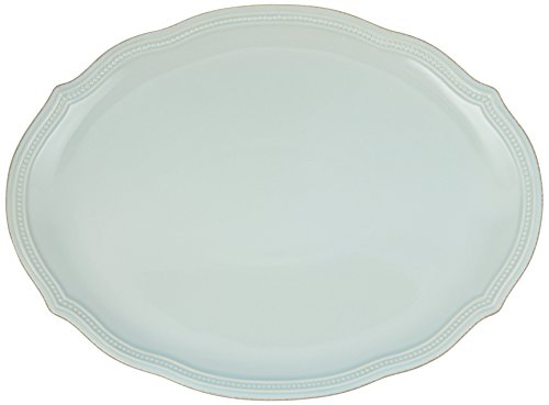 (Lenox French Perle Bead Oval Platter, Ice Blue)