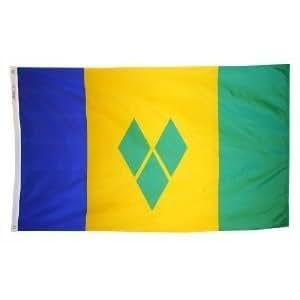 3pies x 5pies. San Vicente Granadinas bandera con ojales de latón