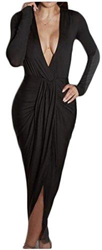 Womens High Jaycargogo Dresses Ruched Long V Midi Slit Party Sexy Bodycon Black Neck Low Sleeve H1nfxgYn