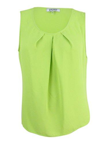 Kasper Womens Pleated Sleeveless Shell Green M