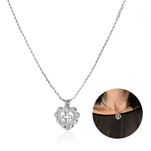 (YOOE Retro Simple Hollow Heart Cross Necklace, Gold and Silver Alloy Love Christian Pendant Necklace for Girls Jewelry (Silver))