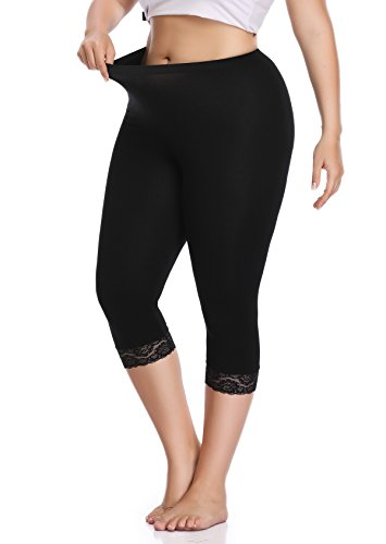 Raddzo Women's Plus Size Cotton Capri Cropped Leggings Lace Trim Soft Tights Pants, Black, XL ()