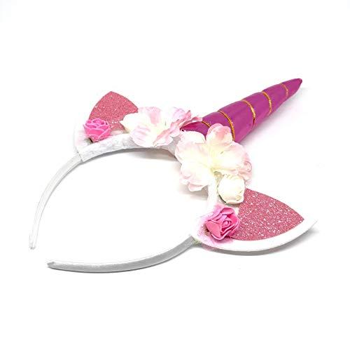 Albertino Pink Unicorn Horn Headband With Flowers and Magic Ears