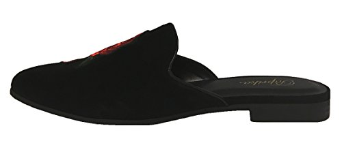 Paprika Damen Goldton Horsebit Hardware Rückenfrei Slip On Loafer Schwarz Vf