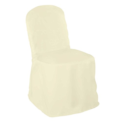 Lannu0027s Linens Premium Polyester Banquet Chair Cover   For Wedding Or Party    Ivory   100pcs