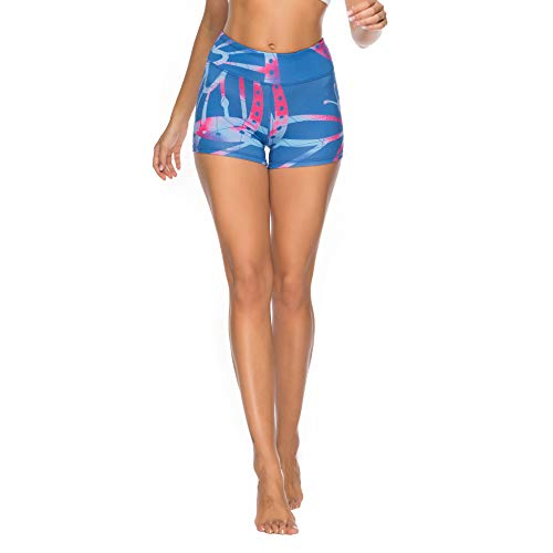 SOUTEAM Women High Wasit Shorts Stretchy Shaping Yoga Pants, Blue, Large
