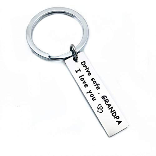 SMUOBT Keychain Gifts for Grandpa Drive Safe I Love You Keychains KeyRing New Driver Gift