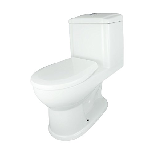 Renovator's Supply Round Push Button One Piece Child's Bathroom Toilet Grade A Vitreous China White Ceramic Easy ()