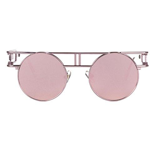Gothique Cadre Vintage De Ronde Keephen UV400 Réfléchissant Rose Soleil Rose Classique Lunettes Coloré xEYAAw6q