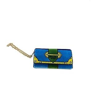 Prada Portafoglio Pattina Cammello Blue and Green Velvet Wristlet 1MH019