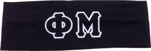 Key Your Spirit Phi Mu Sorority Greek Letters Headband (Black)