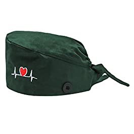 Upgraded Working Cap with Buttons, Adjustable Tie Back Working Hat Head Cover Headwear Sweatband Cap for Women, Men
