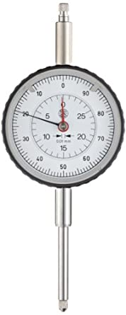 Brown & Sharpe TESA 0141760652 Roch Dial Gauge Indicator, Long Range, M2.5 Thread, 8mm Stem Dia., White Dial, 0-50-100 Reading, 58mm Dial Dia., 0-30mm Range, 0.01mm Graduation, +/-0.003mm Accuracy