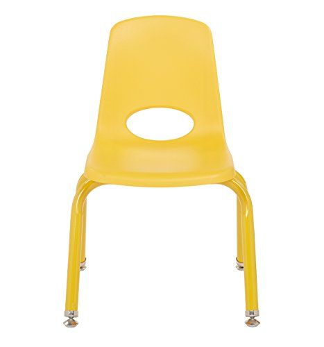 ECR4Kids 12'' School Stack Chair with Powder Coated Legs and Nylon Swivel Glides, Yellow (6-Pack) by ECR4Kids (Image #4)'