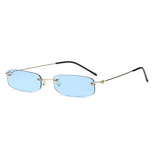 MINCL/Small Chic Rectangular Rimless Sunglasses Women Men Fashion Vintage Design UV400 (blue)