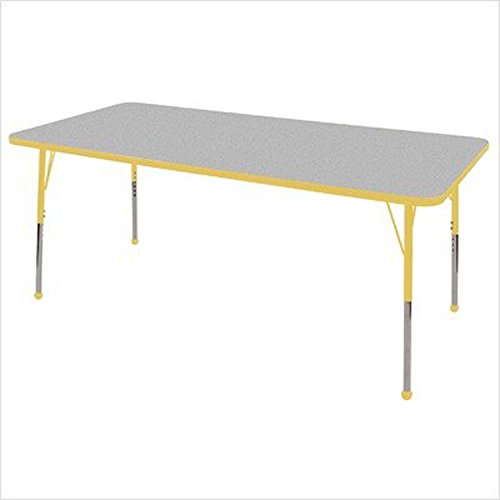 Early Childhood Resource ELR-14113-GYE-TB 36 in. x 72 in. Gray Rectangular Adjustable Activity Table with Yellow Edge and Yellow Toddler Leg Ball Glides from Early Childhood Resource,LLC