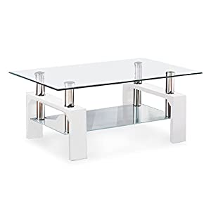 Glass coffee table shelf chrome rectangular white wood living room furniture