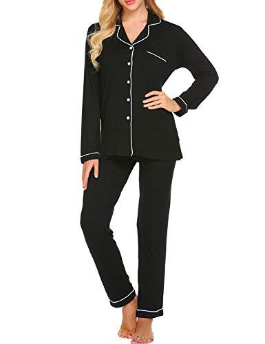 Ekouaer Pajama Set Womens Soft Sleepwear Long Sleeve Pjs Top Long Lounge Pants,Black,X-Large