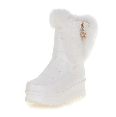 VogueZone009 Damen Rein Weiches Material Hoher Absatz Reißverschluss Rund Zehe Stiefel, Weiß, 43