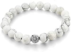 Marble Bracelet White With Metal Beads