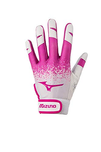Mizuno Finch Youth Softball Batting Glove, White/Pink, Medium