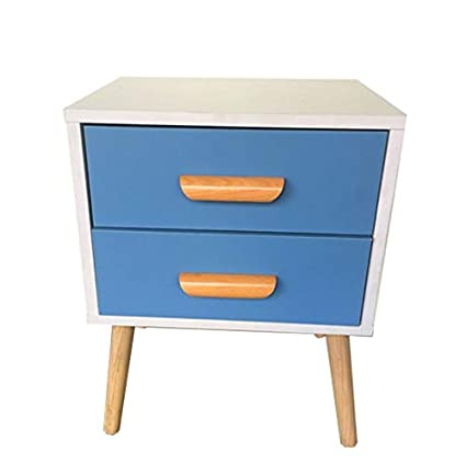 Attrayant Amazon.com: JWI Bedroom Bedside Table Creative Fashion Simple Nordic Style  Blue White Wooden Rack Bedside Table Shelf: Kitchen U0026 Dining