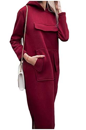 Pullover donne Puro Abiti Cappuccio Carico Tasca Outwear Felpe Rossi Coolred 0dx6nW0