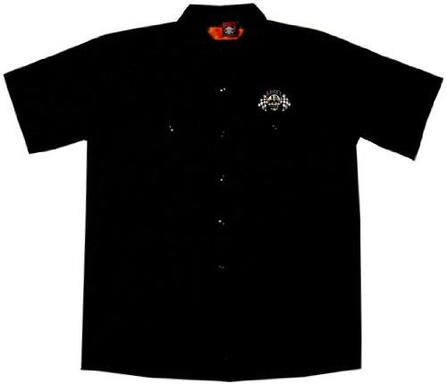 Hot Rod Skull (Skull Flags Hot Rod Work Shirt, Lucky 13 (L, Black))