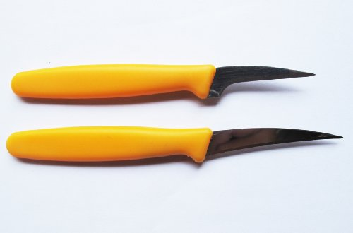 Set Fruit Carving Knife Plastic Handle Yellow.02.5 inch 2 Pcs. of - Thai Fruit Carving