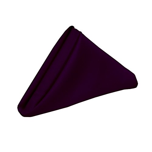 (YCC Linen - 20 Inch Square Premium Polyester Cloth Napkins 10 Pack - Eggplant, Oversized, Double Folded and Hemmed Table Napkins for Restaurant, Bistro, Wedding, Thanksgiving and Christmas)
