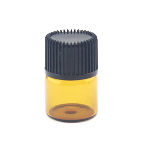Mavogel 1/4 Dram Amber Glass Vial Bottles for Essential Oils, Perfumes, Reagents- Screw Cap w/ Orifice Reducer - Pack of 24