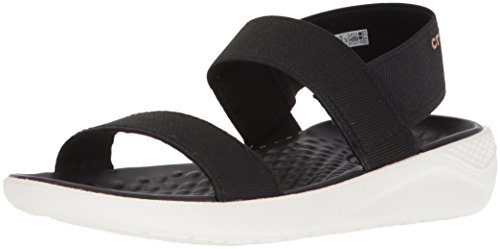 Crocs Women's LiteRide Sandal Flat, black/white, 9 M US