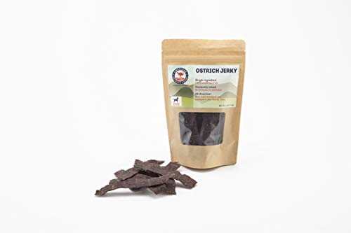 (Ostrich Jerky for Pets: Single Ingredient, 100% Natural, All-American, tastes just like beef, but far healthier!)