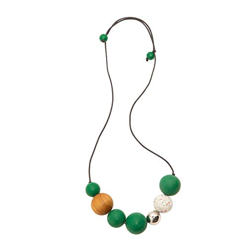 Ruby Olive Hand Poured Resin Adjustable Ball Necklace with Silver Bead (Green)