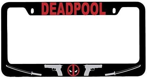 First Rober Deadpool Logo Black Metal License Plate Frame