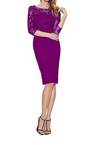 Etuikleider Fuchsia Abendkleider Partykleider Spitze Blau Damen Charmant mit Ballkleider Royal Langarm BAHv00wqT
