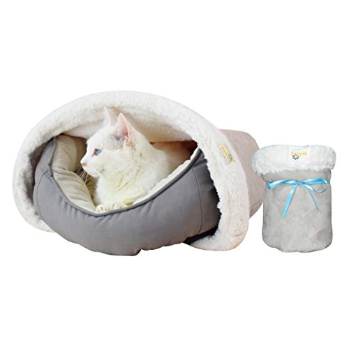 BedHug | Pet Burrow Blanket | for Cats & Kittens | Naturally Relieves Stress, Separation Anxiety & Nervousness | Ultra Cozy & Plush | Attaches to Your Own Pet Bed | Grey, Small