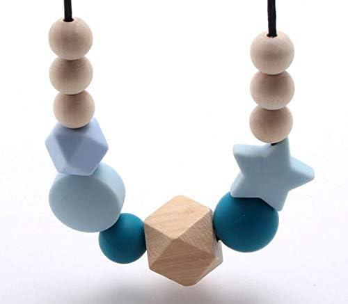Collar para ni/ños Collar de cuentas de madera de silicona Collar de dentici/ón de silicona para beb/és Beb/é reci/én nacido Joyer/ía de lactancia materna