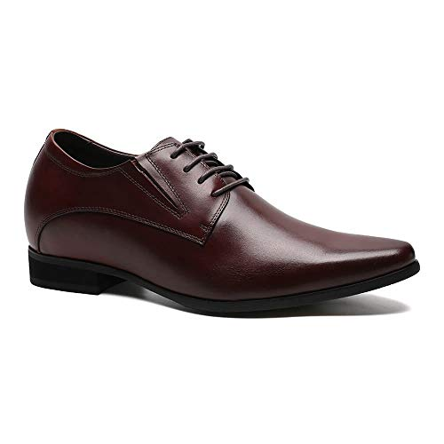 Mahogany Height - CHAMARIPA Men's Oxford Leather Height Increasing Elevator Shoes 3.15'' Taller H62D11K011D (11 D(M) US, Mahogany)