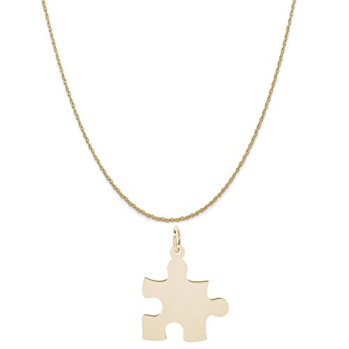 10k Gold Logo Charm - Rembrandt Charms 10K Yellow Gold Puzzle Piece Charm on a 10K Yellow Gold Rope Chain Necklace, 16