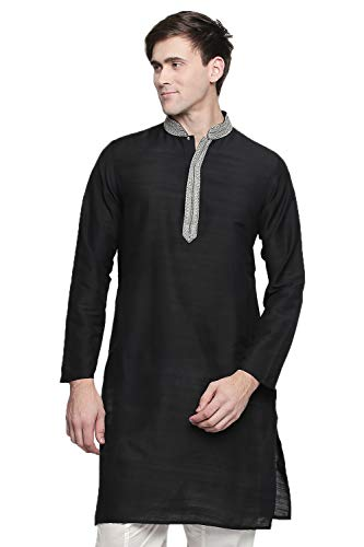 In-Sattva Men's Indian Embroidered Banded Collar and Placket Royal Kurta Tunic; Black, MD