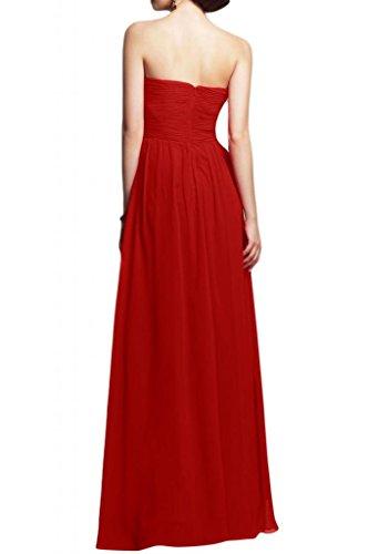 Diseño en forma de corazón de la Toscana de novia vestidos de gasa por la noche vestido de largo bola para mujer vestidos de fiesta Rojo