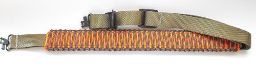 Double Cobra 550lb Paracord Rifle Sling weaved over Extra Thick Nylon with Swivels-12+ Colors (Woodland Camo & Neon Orange over Olive Drab) - Woodland Nylon Belt