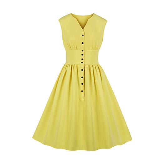 (Wellwits Women's Plain Solid Button Down 1940s Retro Vintage Dress Yellow)