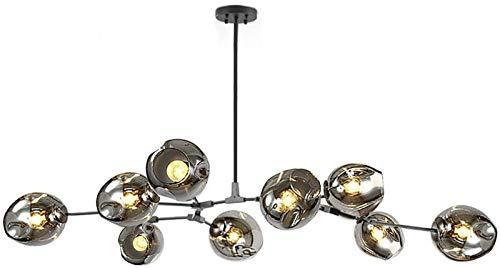 E27 metalen handgeblazen takken hanglamp, matzwarte spoetnik-kroonluchter, 180cm midden van de eeuw…