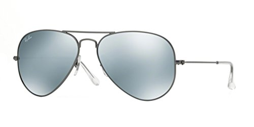 Ray-Ban RB3025 Aviator Large Metal Mirrored Unisex Sunglasses (Matte Gunmetal Frame/Grey Mirror Silver Lens 029/30, - Aviator Sunglasses Silver Ban Ray