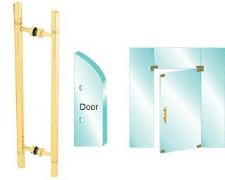 CRL Polished Brass PVD Plated 25'' Glass Mounted Laddy Style Pull Handle with Undercut Accent Rings
